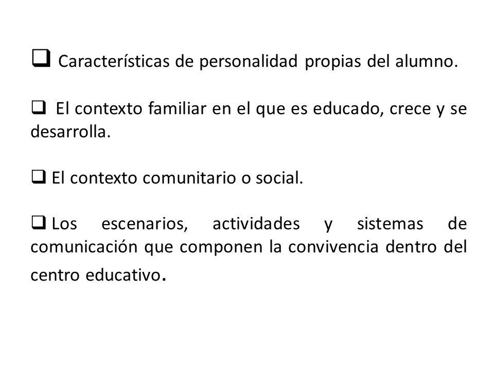 Características de personalidad propias del alumno. El contexto familiar en el que es educado, crece y se desarrolla. El contexto comunitario o social