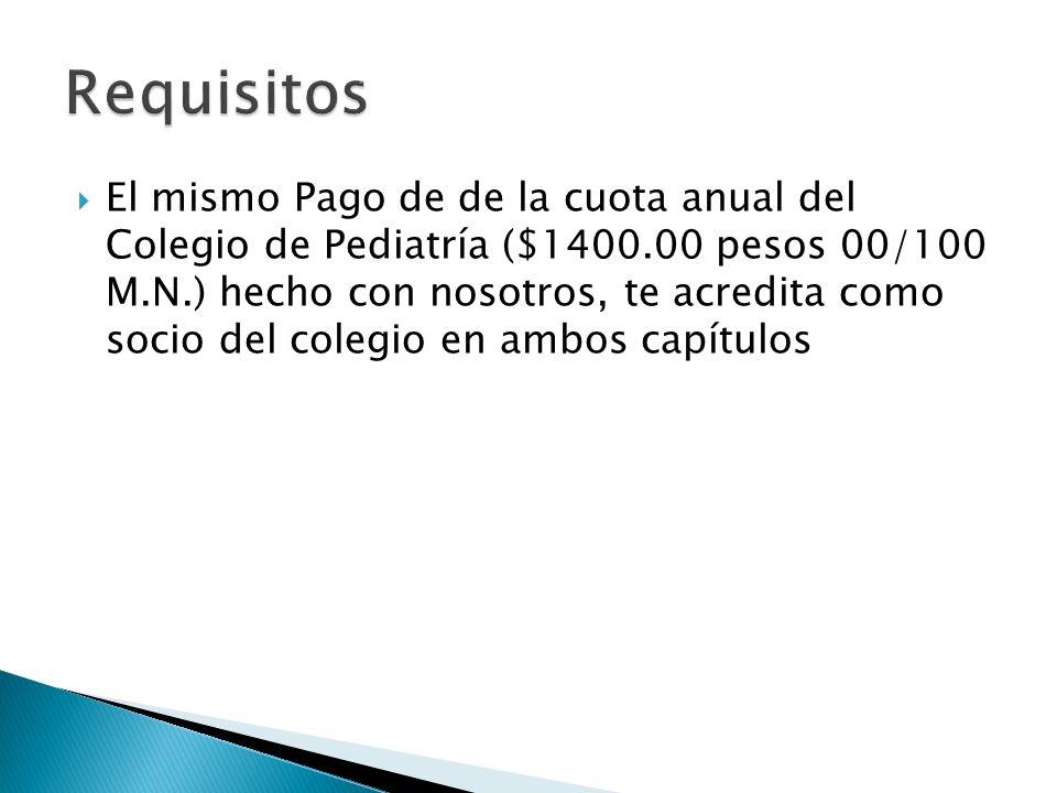El mismo Pago de de la cuota anual del Colegio de Pediatría ($1400.00 pesos 00/100 M.N.) hecho con nosotros, te acredita como socio del colegio en ambos capítulos