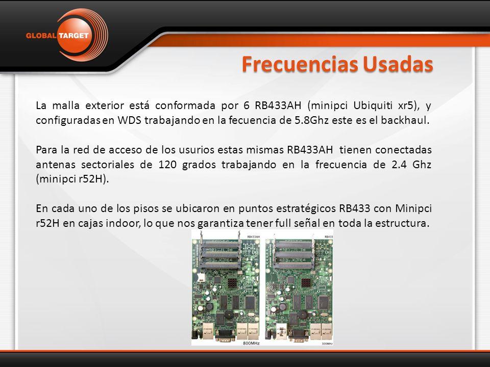 Frecuencias Usadas La malla exterior está conformada por 6 RB433AH (minipci Ubiquiti xr5), y configuradas en WDS trabajando en la fecuencia de 5.8Ghz este es el backhaul.