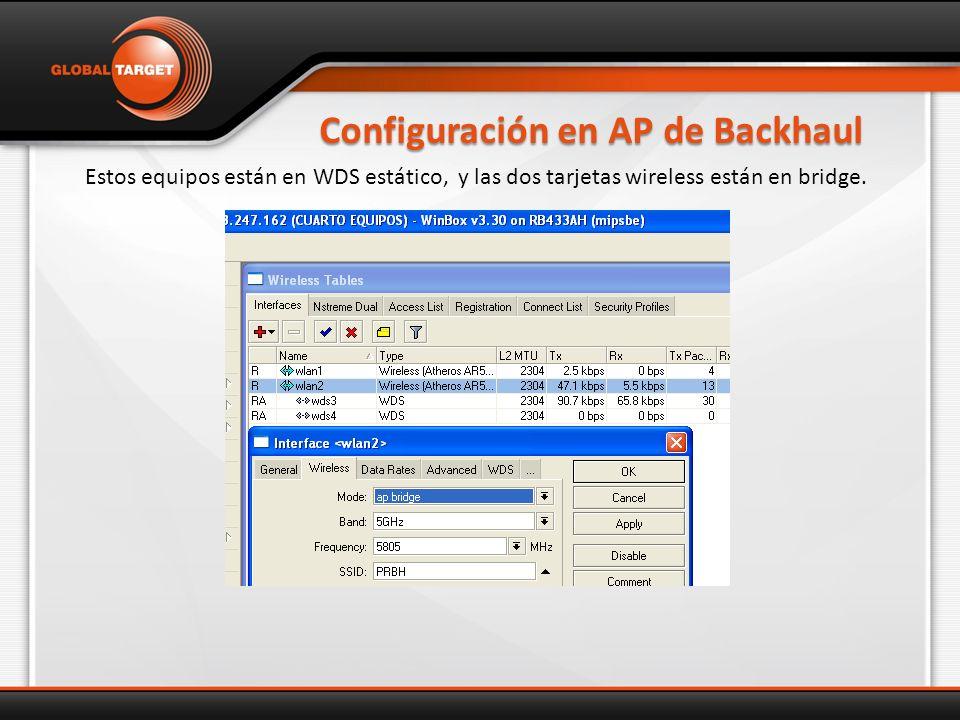 Configuración en AP de Backhaul Estos equipos están en WDS estático, y las dos tarjetas wireless están en bridge.