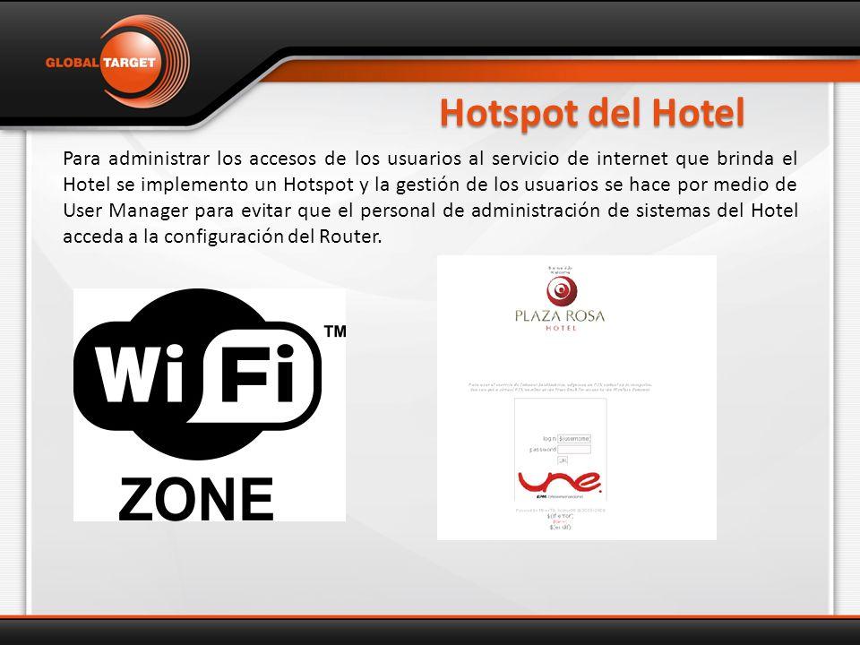 Hotspot del Hotel Para administrar los accesos de los usuarios al servicio de internet que brinda el Hotel se implemento un Hotspot y la gestión de los usuarios se hace por medio de User Manager para evitar que el personal de administración de sistemas del Hotel acceda a la configuración del Router.