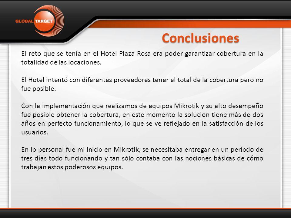 Conclusiones El reto que se tenía en el Hotel Plaza Rosa era poder garantizar cobertura en la totalidad de las locaciones.