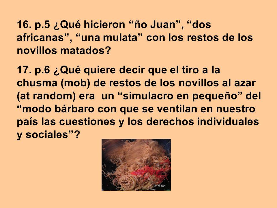 16. p.5 ¿Qué hicieron ño Juan, dos africanas, una mulata con los restos de los novillos matados? 17. p.6 ¿Qué quiere decir que el tiro a la chusma (mo