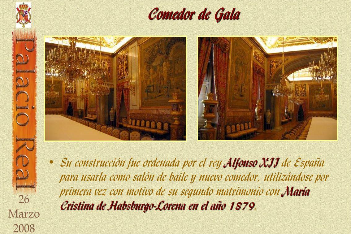 Comedor de Gala Alfonso XII María Cristina de Habsburgo-Lorena en el año 1879 Su construcción fue ordenada por el rey Alfonso XII de España para usarla como salón de baile y nuevo comedor, utilizándose por primera vez con motivo de su segundo matrimonio con María Cristina de Habsburgo-Lorena en el año 1879.