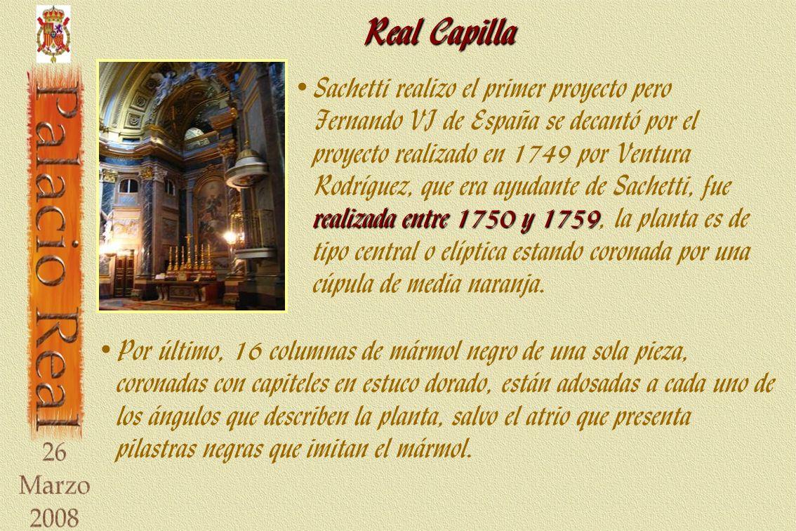 Real Capilla realizada entre 1750 y 1759 Sachetti realizo el primer proyecto pero Fernando VI de España se decantó por el proyecto realizado en 1749 por Ventura Rodríguez, que era ayudante de Sachetti, fue realizada entre 1750 y 1759, la planta es de tipo central o elíptica estando coronada por una cúpula de media naranja.