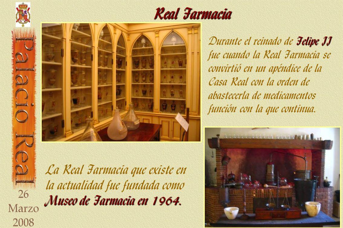 Real Farmacia Felipe II Durante el reinado de Felipe II fue cuando la Real Farmacia se convirtió en un apéndice de la Casa Real con la orden de abastecerla de medicamentos función con la que continua.