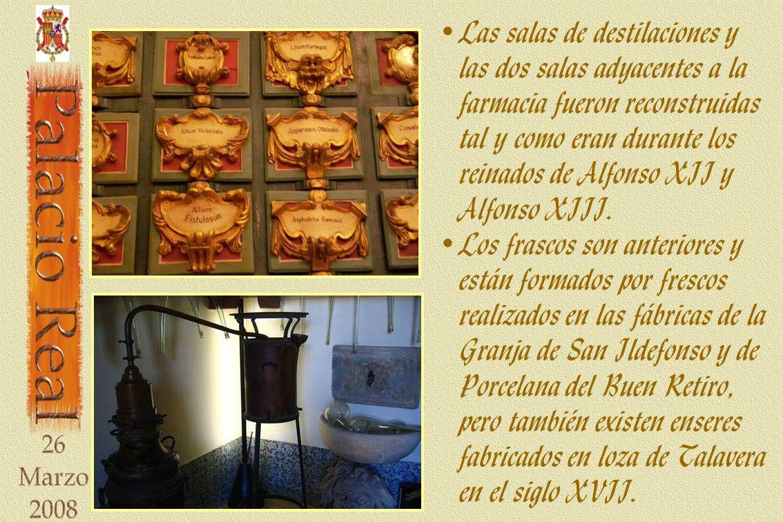 Las salas de destilaciones y las dos salas adyacentes a la farmacia fueron reconstruidas tal y como eran durante los reinados de Alfonso XII y Alfonso