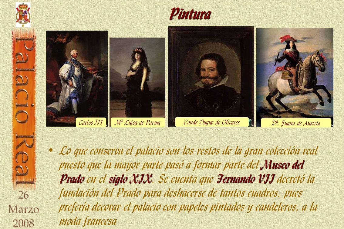 Pintura Museo del Pradosiglo XIXFernando VII Lo que conserva el palacio son los restos de la gran colección real puesto que la mayor parte pasó a formar parte del Museo del Prado en el siglo XIX.