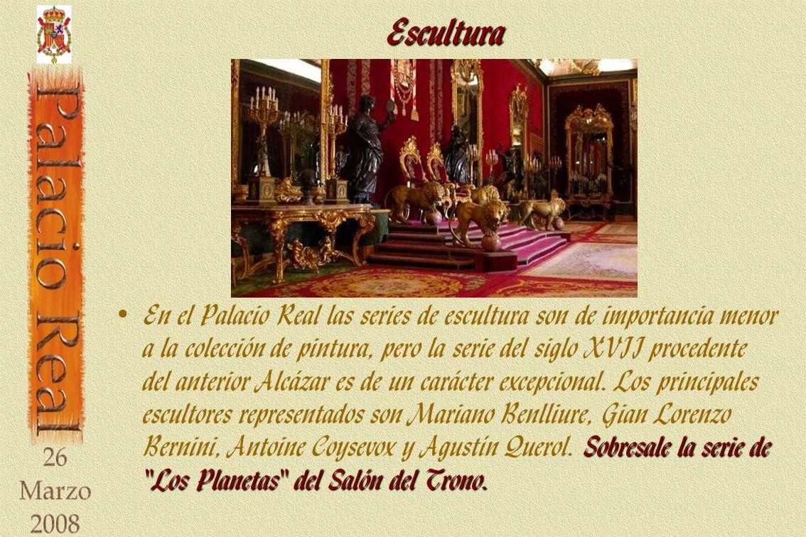 Escultura Sobresale la serie de Los Planetas del Salón del Trono.