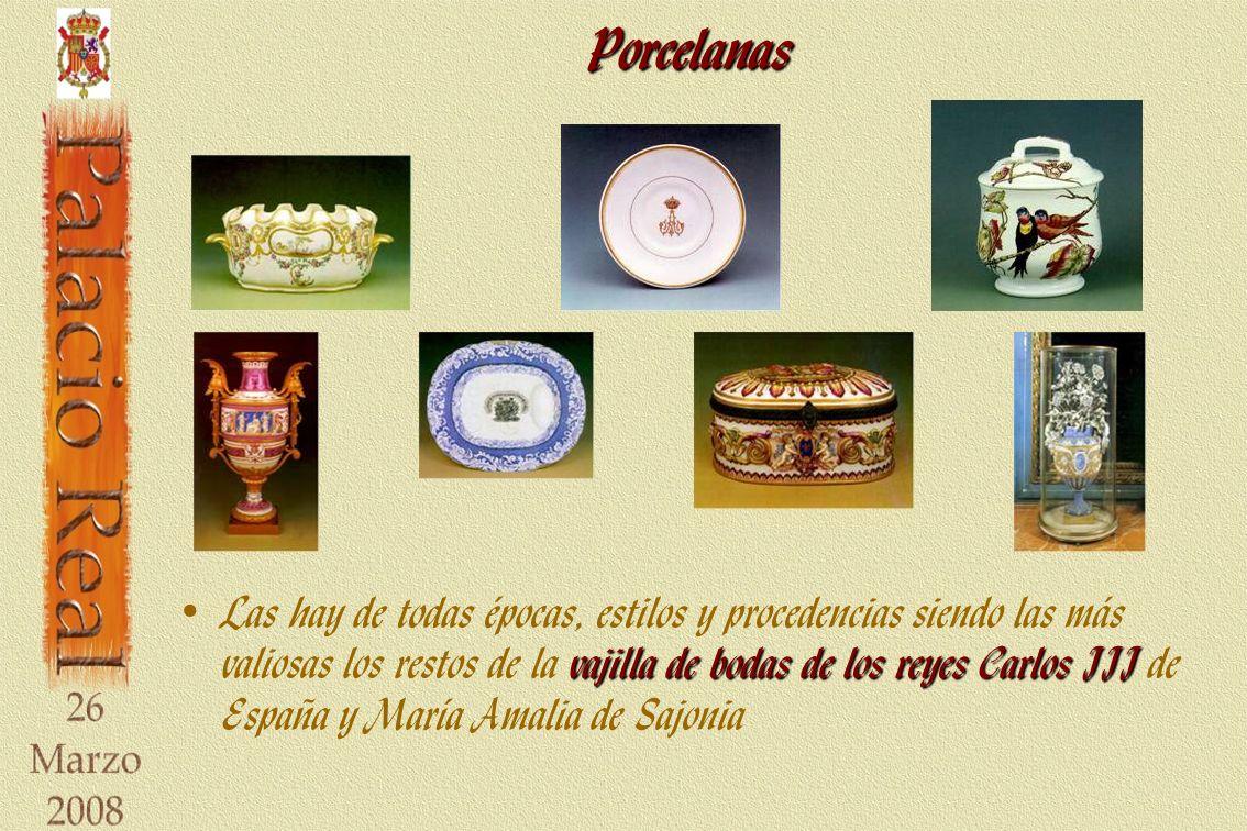 Porcelanas vajilla de bodas de los reyes Carlos III Las hay de todas épocas, estilos y procedencias siendo las más valiosas los restos de la vajilla de bodas de los reyes Carlos III de España y María Amalia de Sajonia