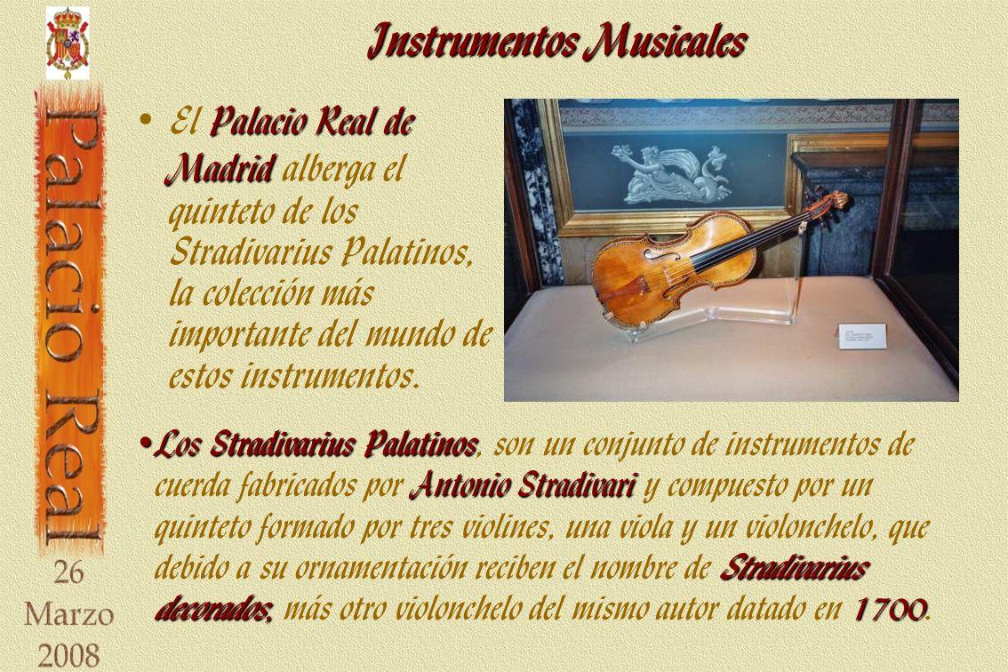 Instrumentos Musicales Palacio Real de Madrid El Palacio Real de Madrid alberga el quinteto de los Stradivarius Palatinos, la colección más importante