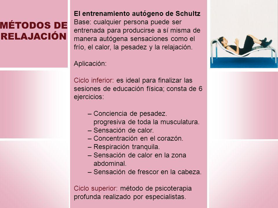 MÉTODOS DE RELAJACIÓN El entrenamiento autógeno de Schultz Base: cualquier persona puede ser entrenada para producirse a sí misma de manera autógena s