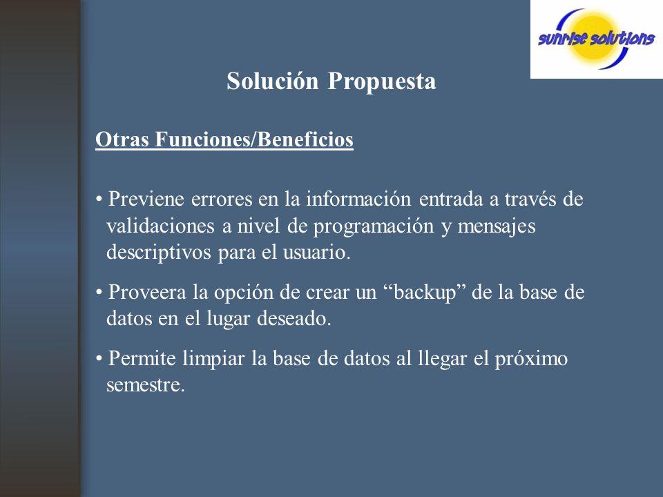 Solución Propuesta Otras Funciones/Beneficios Previene errores en la información entrada a través de validaciones a nivel de programación y mensajes descriptivos para el usuario.