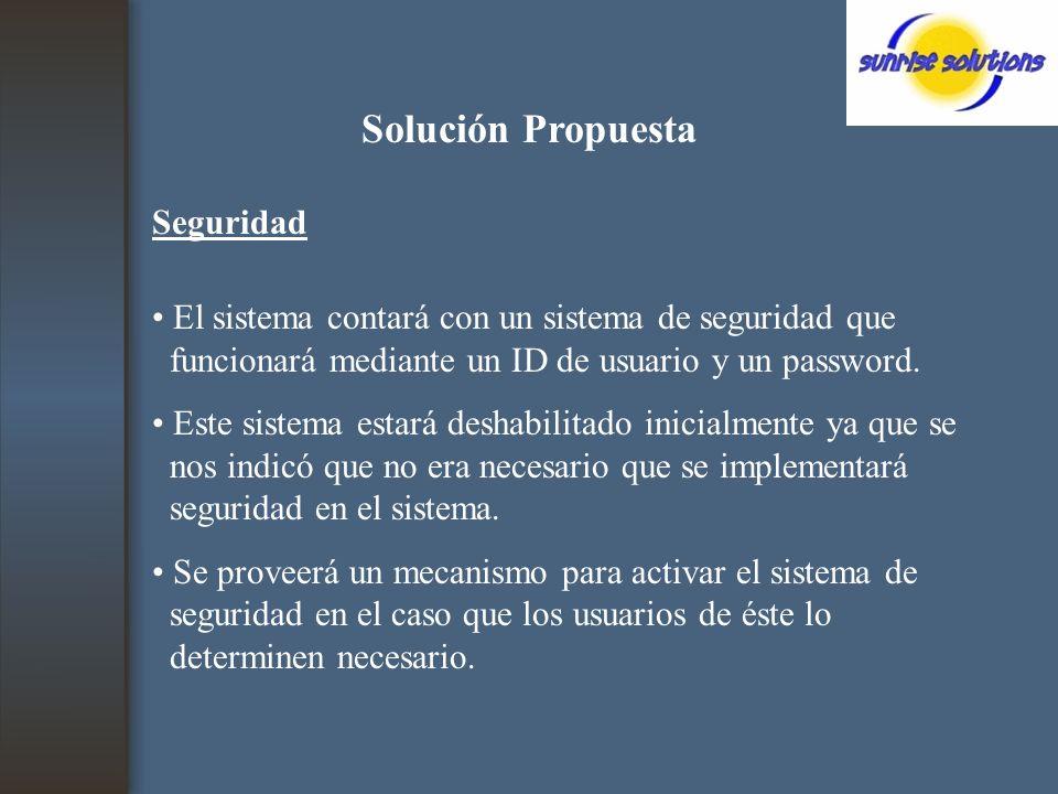 Solución Propuesta Seguridad El sistema contará con un sistema de seguridad que funcionará mediante un ID de usuario y un password.
