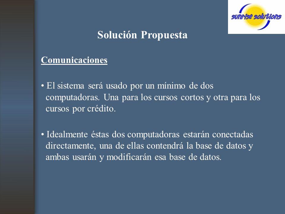 Solución Propuesta Comunicaciones El sistema será usado por un mínimo de dos computadoras.