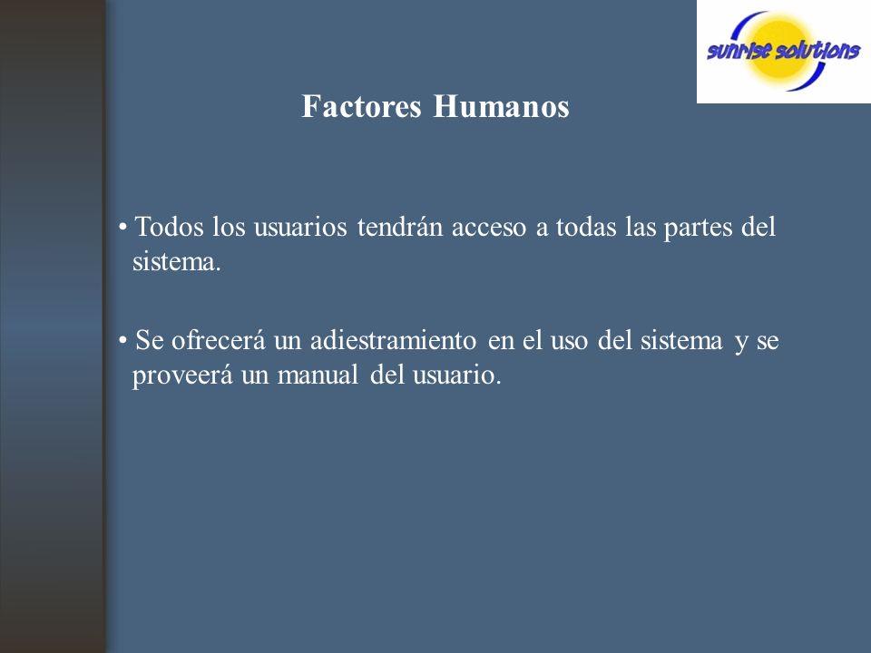 Factores Humanos Todos los usuarios tendrán acceso a todas las partes del sistema.
