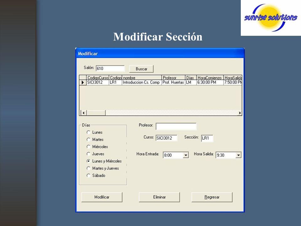 Modificar Sección