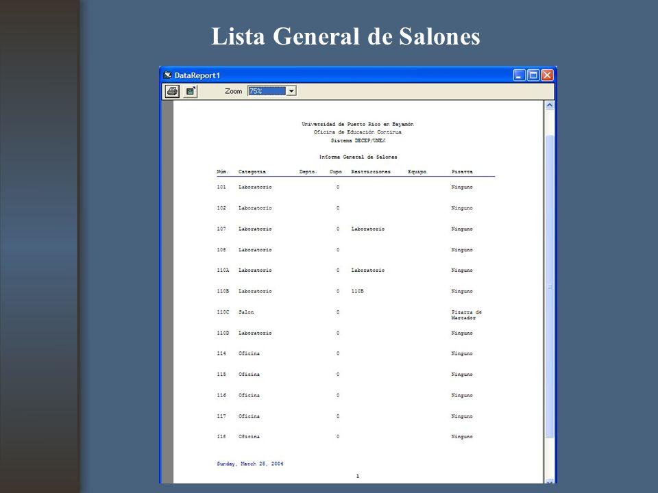 Lista General de Salones