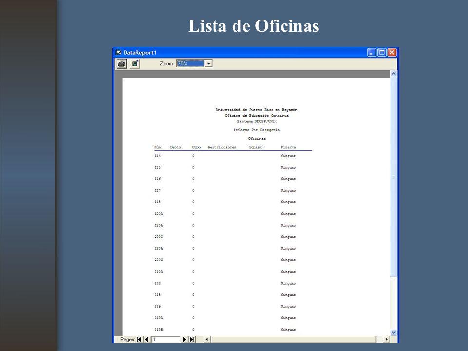 Lista de Oficinas