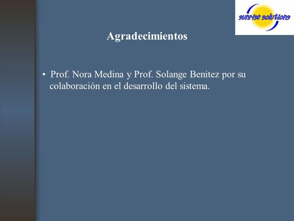 Agradecimientos Prof. Nora Medina y Prof.