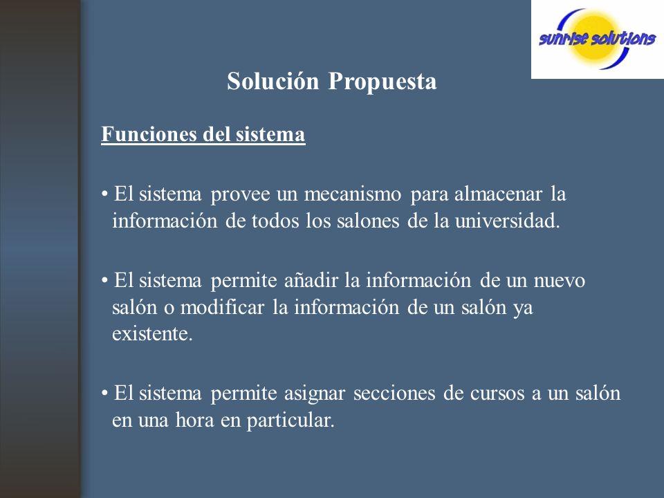 Solución Propuesta Funciones del sistema El sistema provee un mecanismo para almacenar la información de todos los salones de la universidad.