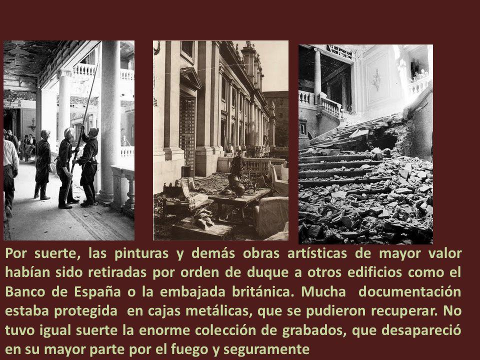 Durante la Guerra Civil Española el palacio resultó destruido casi por completo en circunstancias muy discutidas, mientras el entonces duque y su hija