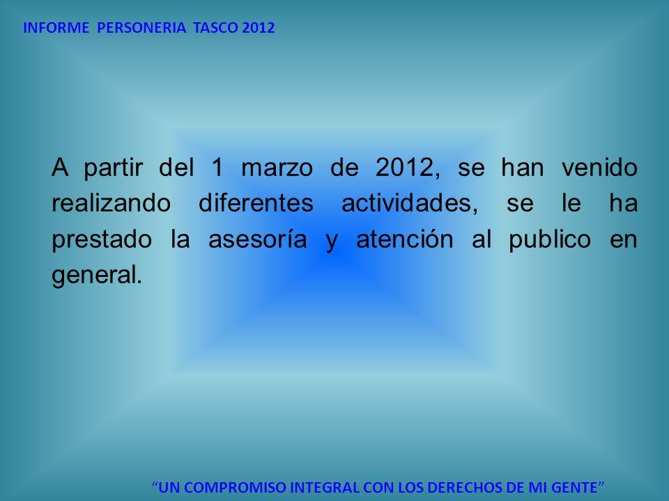 A partir del 1 marzo de 2012, se han venido realizando diferentes actividades, se le ha prestado la asesoría y atención al publico en general. INFORME
