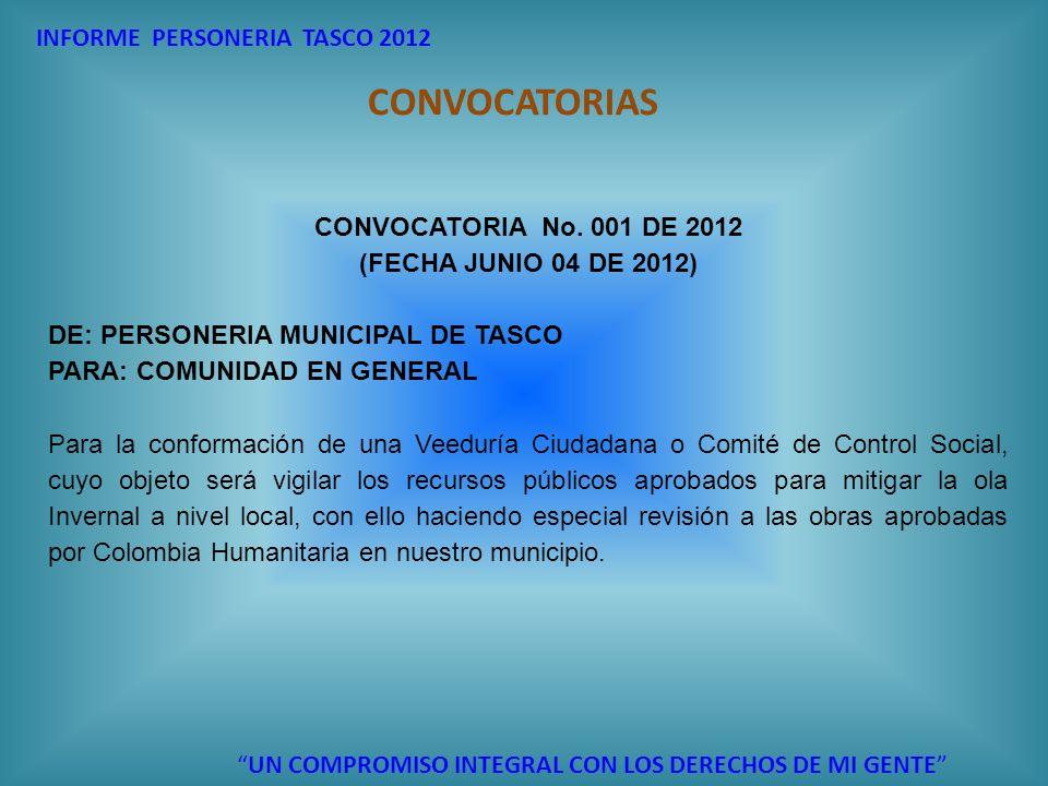 INFORME PERSONERIA TASCO 2012 UN COMPROMISO INTEGRAL CON LOS DERECHOS DE MI GENTE CONVOCATORIAS CONVOCATORIA No. 001 DE 2012 (FECHA JUNIO 04 DE 2012)