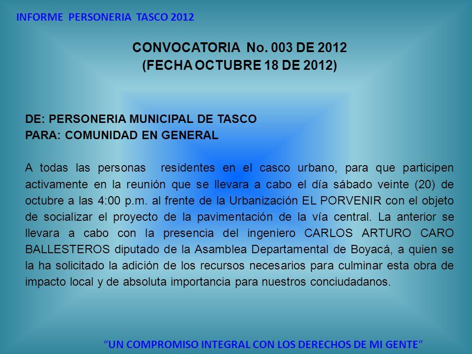 INFORME PERSONERIA TASCO 2012 UN COMPROMISO INTEGRAL CON LOS DERECHOS DE MI GENTE CONVOCATORIA No. 003 DE 2012 (FECHA OCTUBRE 18 DE 2012) DE: PERSONER