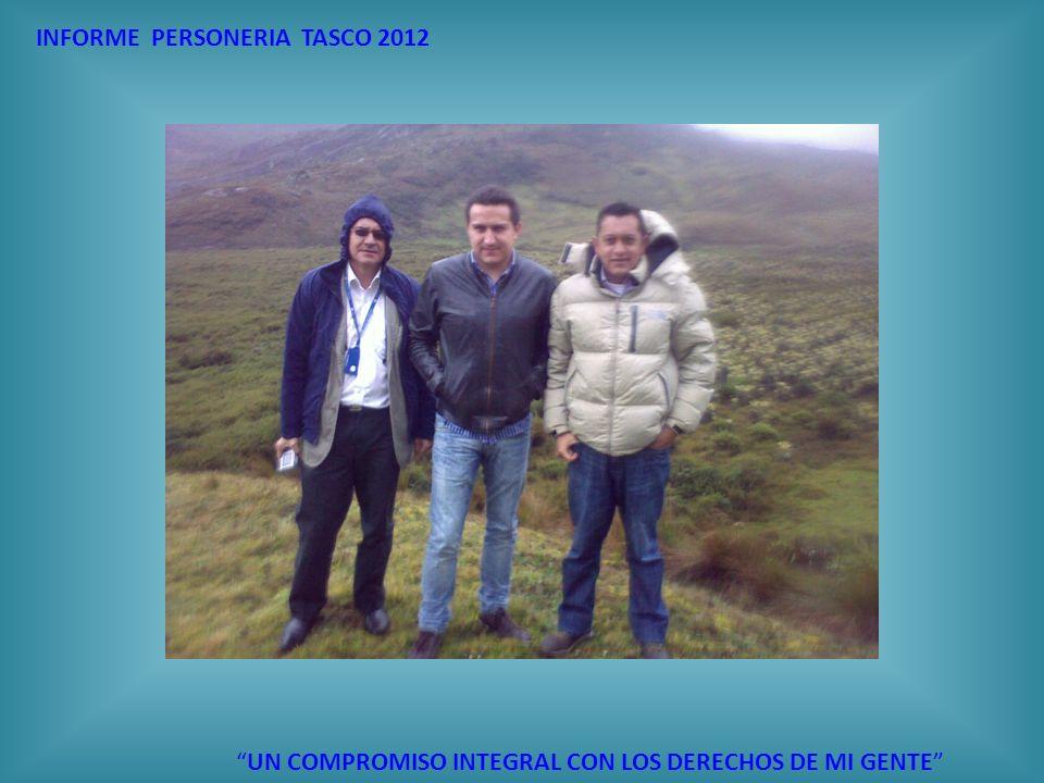 INFORME PERSONERIA TASCO 2012 UN COMPROMISO INTEGRAL CON LOS DERECHOS DE MI GENTE CONVOCATORIAS CONVOCATORIA No.