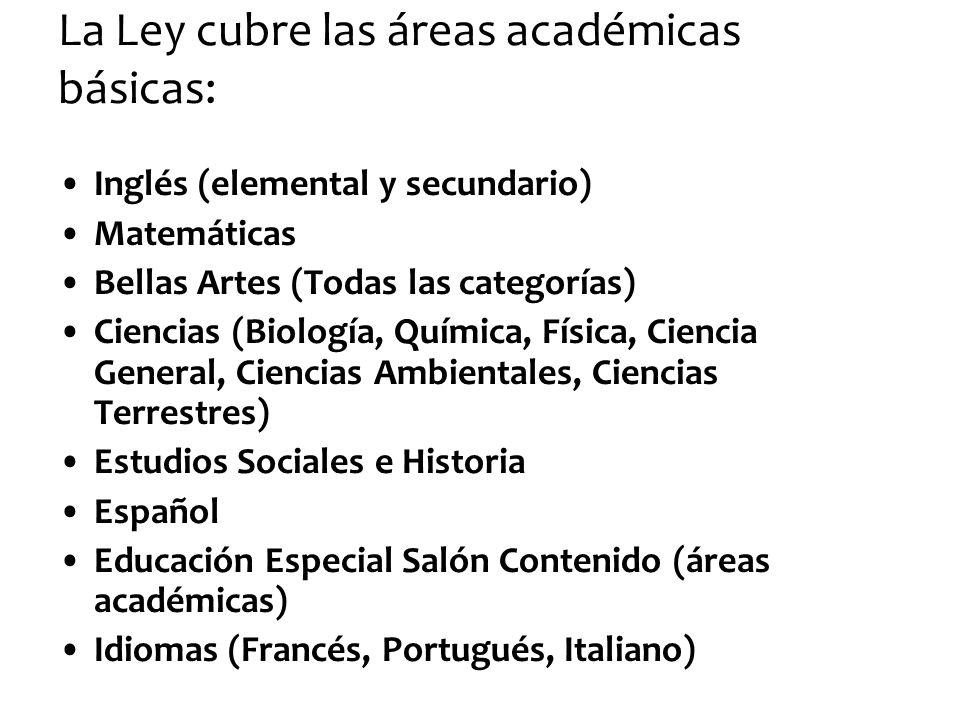 La Ley cubre las áreas académicas básicas: Inglés (elemental y secundario) Matemáticas Bellas Artes (Todas las categorías) Ciencias (Biología, Química