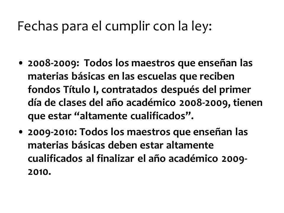 Fechas para el cumplir con la ley: 2008-2009: Todos los maestros que enseñan las materias básicas en las escuelas que reciben fondos Título I, contrat