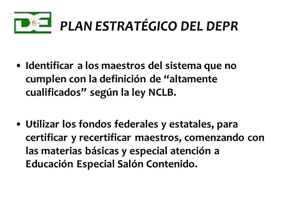 PLAN ESTRATÉGICO DEL DEPR Identificar a los maestros del sistema que no cumplen con la definición de altamente cualificados según la ley NCLB. Utiliza