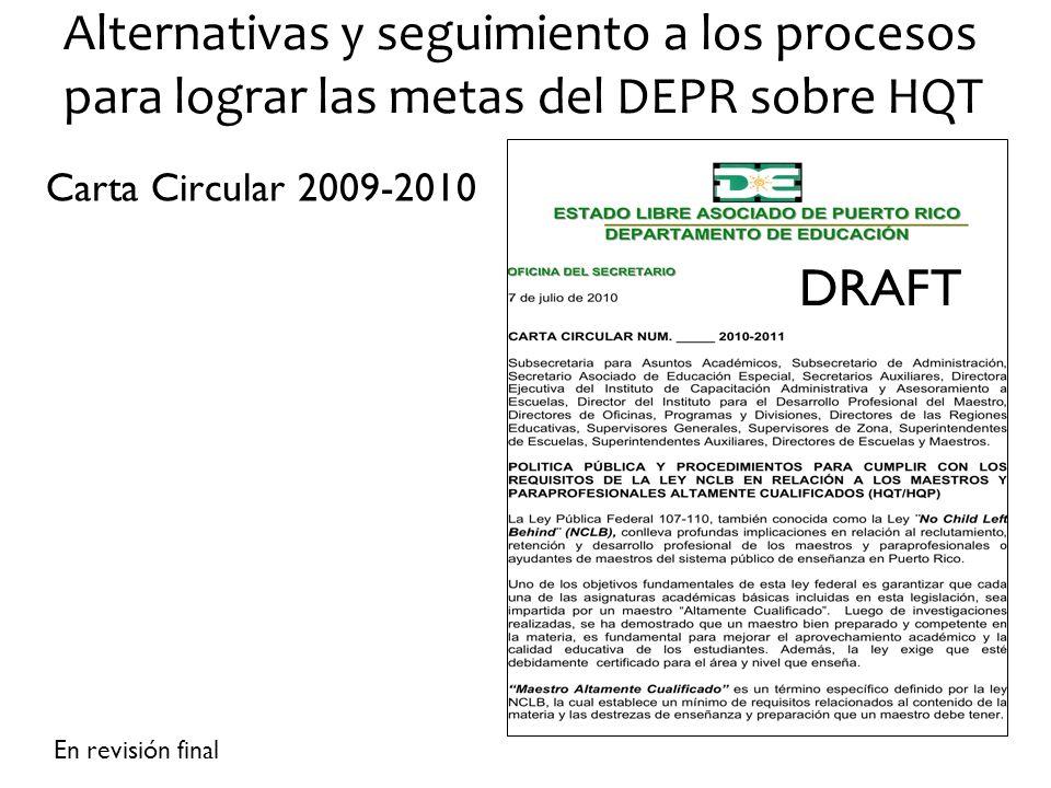 Alternativas y seguimiento a los procesos para lograr las metas del DEPR sobre HQT Carta Circular 2009-2010 En revisión final DRAFT