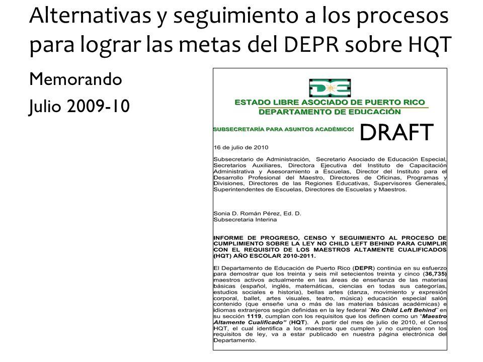 Alternativas y seguimiento a los procesos para lograr las metas del DEPR sobre HQT Memorando Julio 2009-10 DRAFT