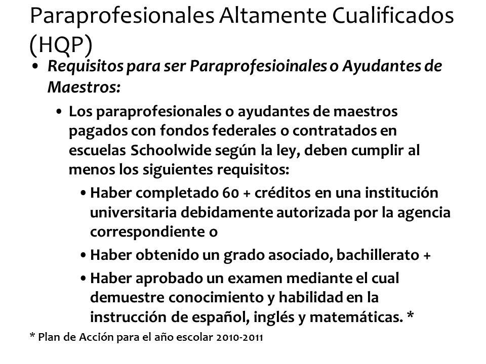Paraprofesionales Altamente Cualificados (HQP) Requisitos para ser Paraprofesioinales o Ayudantes de Maestros: Los paraprofesionales o ayudantes de ma