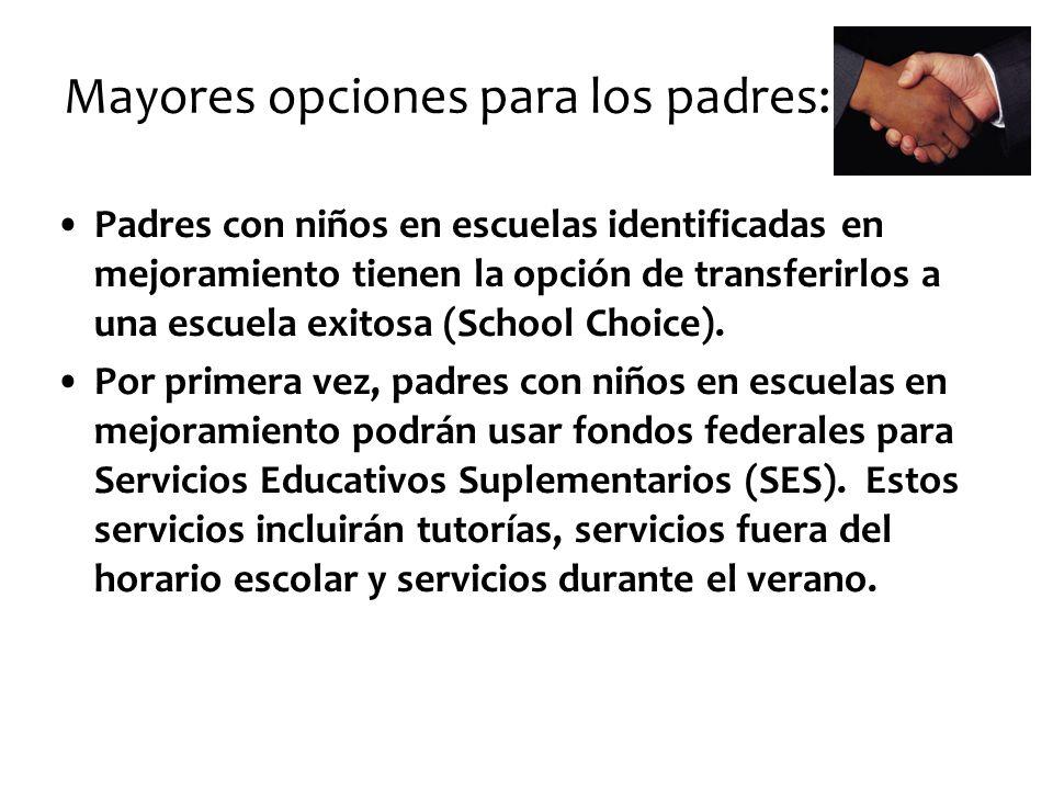 Mayores opciones para los padres: Padres con niños en escuelas identificadas en mejoramiento tienen la opción de transferirlos a una escuela exitosa (