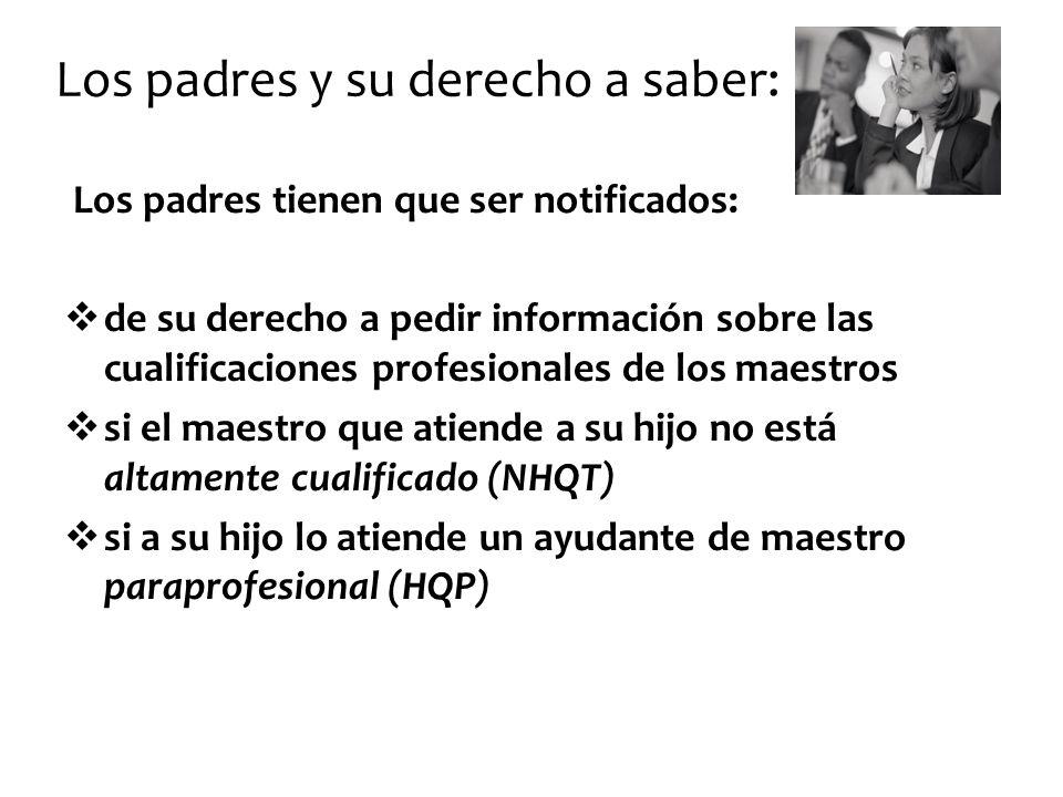 Los padres y su derecho a saber: Los padres tienen que ser notificados: de su derecho a pedir información sobre las cualificaciones profesionales de l