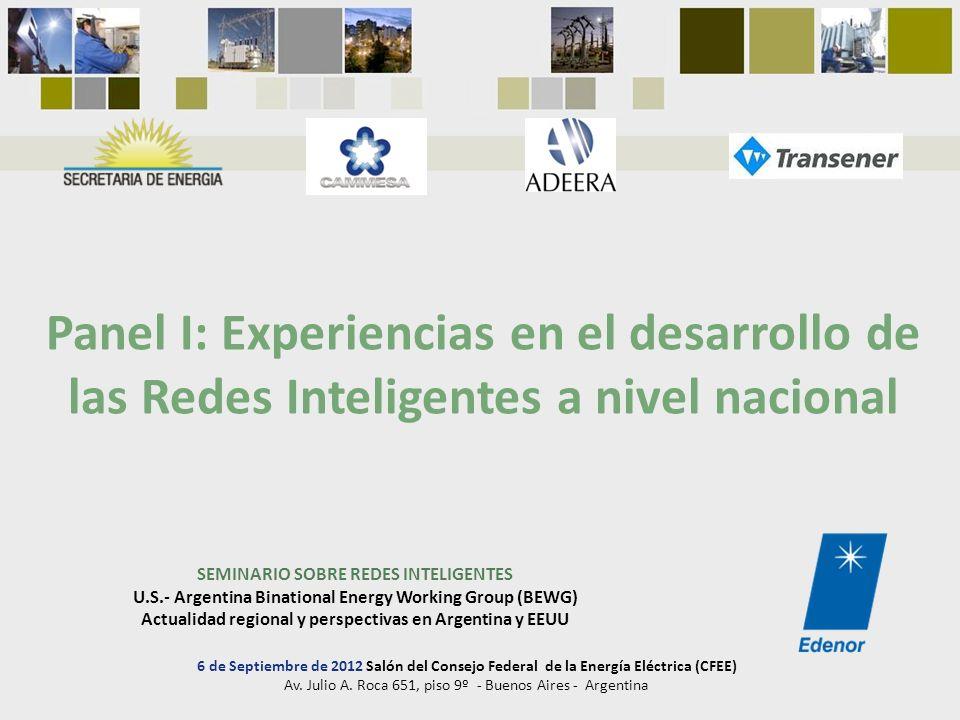 SEMINARIO SOBRE REDES INTELIGENTES U.S.- Argentina Binational Energy Working Group (BEWG) Actualidad regional y perspectivas en Argentina y EEUU Panel