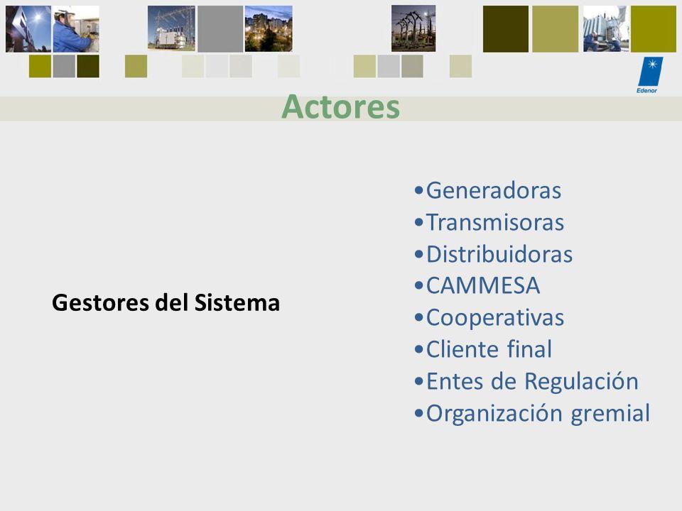 Gestores del Sistema Generadoras Transmisoras Distribuidoras CAMMESA Cooperativas Cliente final Entes de Regulación Organización gremial Actores