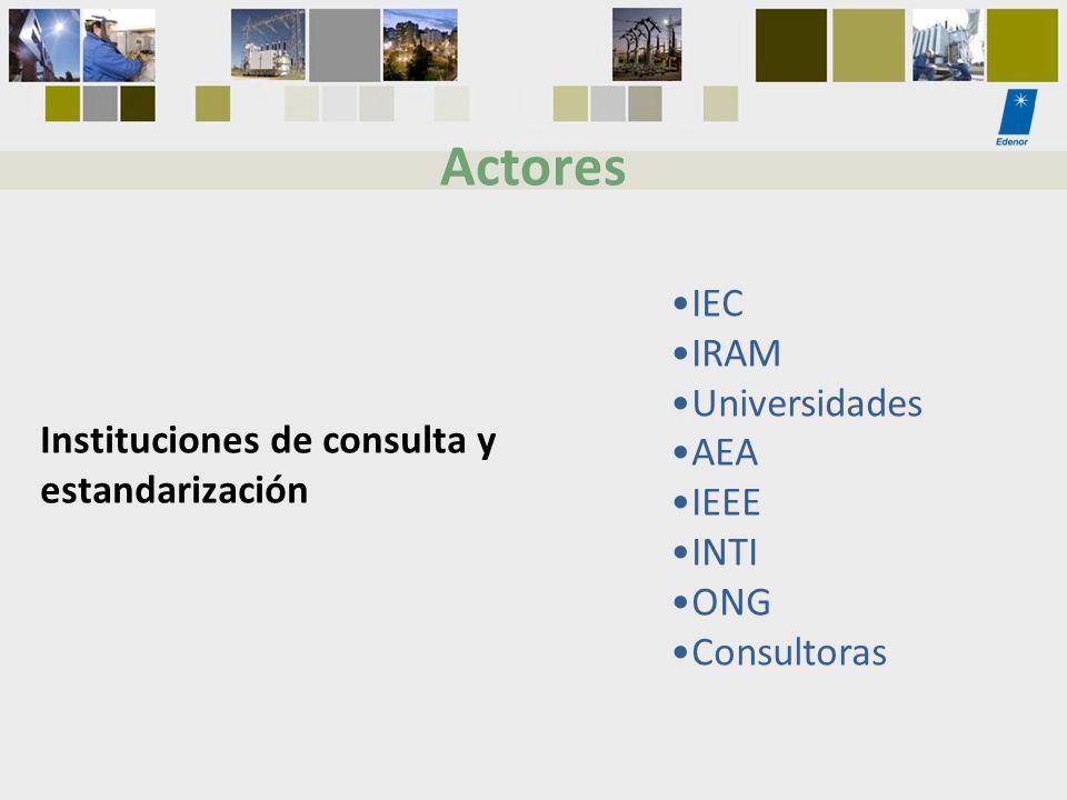 IEC IRAM Universidades AEA IEEE INTI ONG Consultoras Actores Instituciones de consulta y estandarización