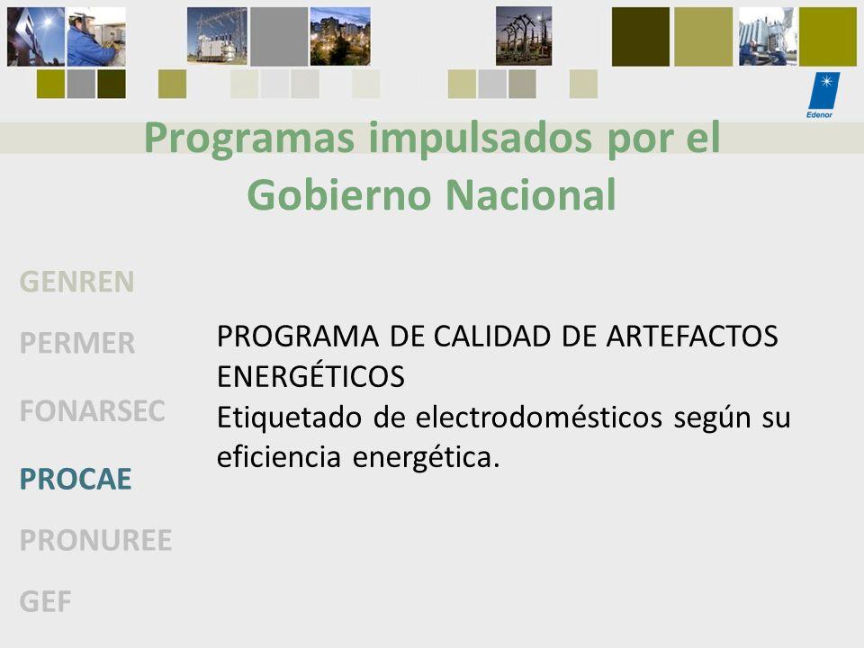 Programas impulsados por el Gobierno Nacional GENREN PERMER FONARSEC PROCAE PRONUREE GEF PROGRAMA DE CALIDAD DE ARTEFACTOS ENERGÉTICOS Etiquetado de e
