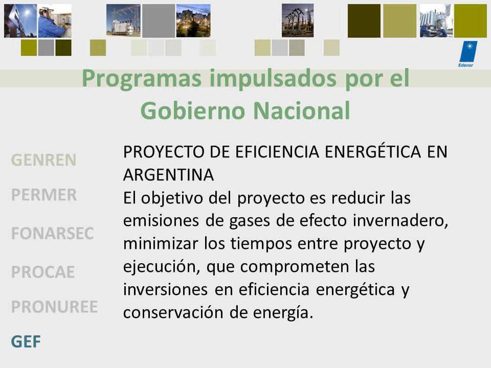 Programas impulsados por el Gobierno Nacional GENREN PERMER FONARSEC PROCAE PRONUREE GEF PROYECTO DE EFICIENCIA ENERGÉTICA EN ARGENTINA El objetivo de