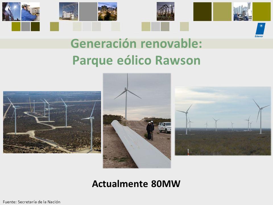 Generación renovable: Parque eólico Rawson Actualmente 80MW Fuente: Secretaría de la Nación