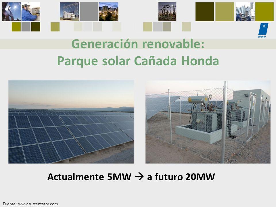 Generación renovable: Parque solar Cañada Honda Actualmente 5MW a futuro 20MW Fuente: www.sustentator.com
