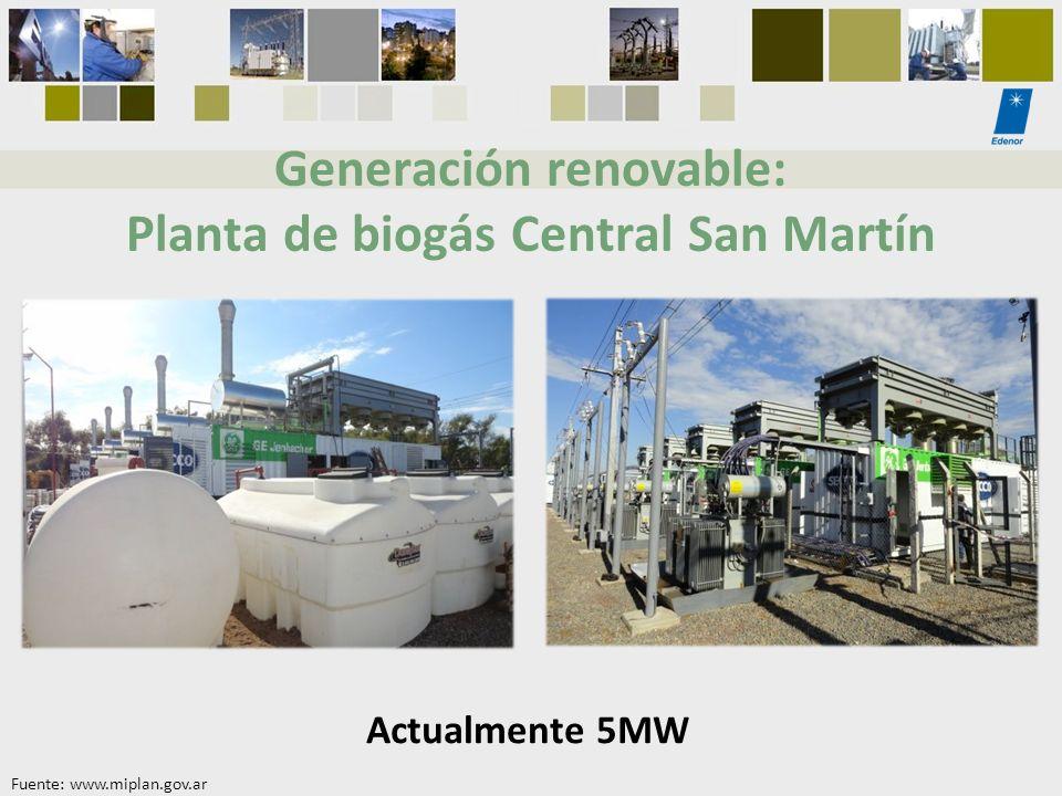 Generación renovable: Planta de biogás Central San Martín Actualmente 5MW Fuente: www.miplan.gov.ar