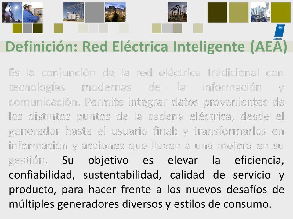 Definición: Red Eléctrica Inteligente (AEA) Es la conjunción de la red eléctrica tradicional con tecnologías modernas de la información y comunicación