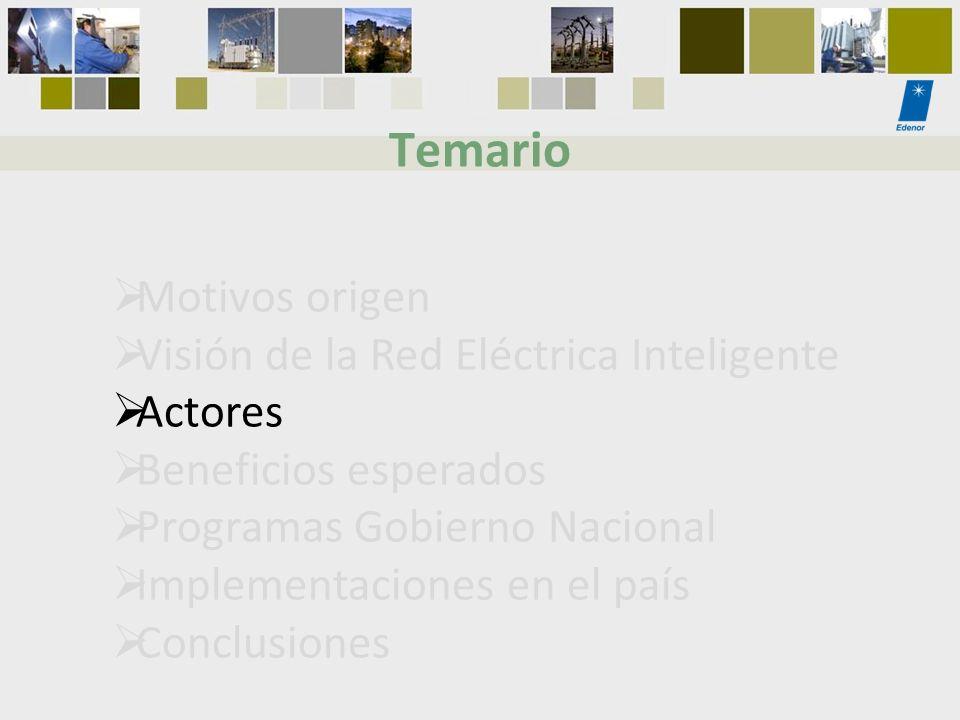 Motivos origen Visión de la Red Eléctrica Inteligente Actores Beneficios esperados Programas Gobierno Nacional Implementaciones en el país Conclusione