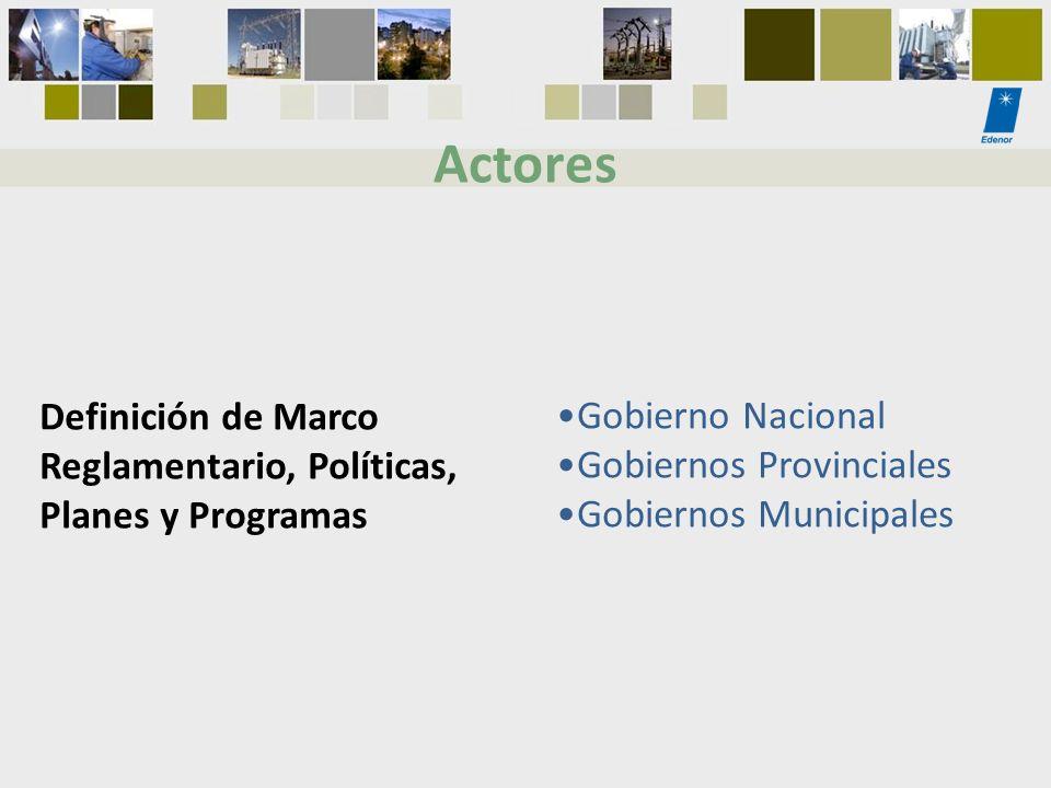 Definición de Marco Reglamentario, Políticas, Planes y Programas Gobierno Nacional Gobiernos Provinciales Gobiernos Municipales Actores