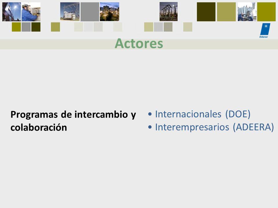 Programas de intercambio y colaboración Internacionales (DOE) Interempresarios (ADEERA) Actores